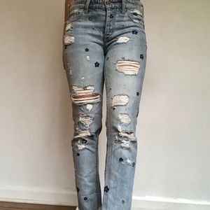 Lucky Brand flower embroidered ripped jeans